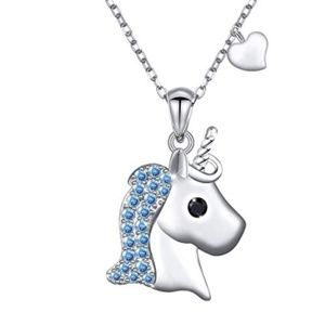 Jewelry - 925 Sterling Silver Cute Heart Unicorn Necklace